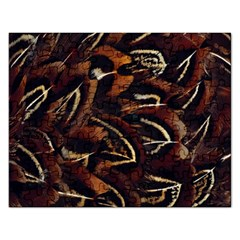 Feathers Bird Black Rectangular Jigsaw Puzzl by Simbadda