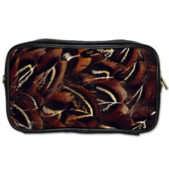 Feathers Bird Black Toiletries Bags by Simbadda