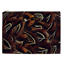 Feathers Bird Black Cosmetic Bag (xxl)  by Simbadda