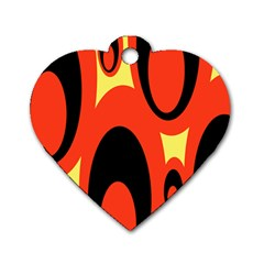 Circle Eye Black Red Yellow Dog Tag Heart (two Sides) by Alisyart