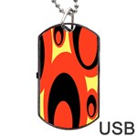 Circle Eye Black Red Yellow Dog Tag USB Flash (Two Sides) Front