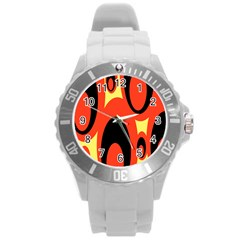 Circle Eye Black Red Yellow Round Plastic Sport Watch (l)
