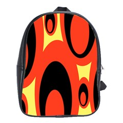 Circle Eye Black Red Yellow School Bags (xl)  by Alisyart
