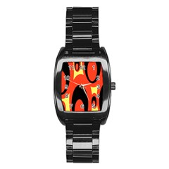 Circle Eye Black Red Yellow Stainless Steel Barrel Watch by Alisyart