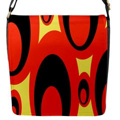 Circle Eye Black Red Yellow Flap Messenger Bag (s) by Alisyart