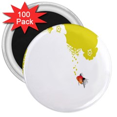 Fish Underwater Yellow White 3  Magnets (100 Pack) by Simbadda