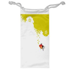 Fish Underwater Yellow White Jewelry Bag by Simbadda