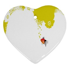 Fish Underwater Yellow White Heart Ornament (two Sides) by Simbadda
