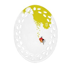 Fish Underwater Yellow White Oval Filigree Ornament (two Sides) by Simbadda