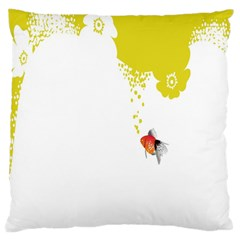 Fish Underwater Yellow White Large Cushion Case (one Side) by Simbadda