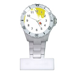 Fish Underwater Yellow White Plastic Nurses Watch by Simbadda
