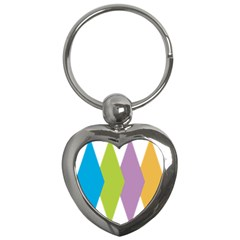 Chevron Wave Triangle Plaid Blue Green Purple Orange Rainbow Key Chains (heart)