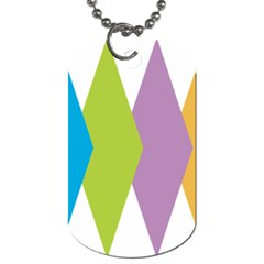 Chevron Wave Triangle Plaid Blue Green Purple Orange Rainbow Dog Tag (two Sides)