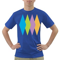 Chevron Wave Triangle Plaid Blue Green Purple Orange Rainbow Dark T Shirt by Alisyart