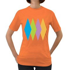 Chevron Wave Triangle Plaid Blue Green Purple Orange Rainbow Women s Dark T-shirt by Alisyart