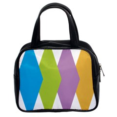 Chevron Wave Triangle Plaid Blue Green Purple Orange Rainbow Classic Handbags (2 Sides) by Alisyart
