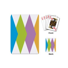 Chevron Wave Triangle Plaid Blue Green Purple Orange Rainbow Playing Cards (mini)  by Alisyart