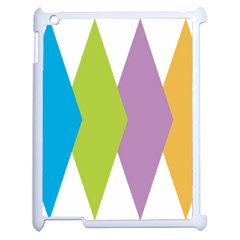 Chevron Wave Triangle Plaid Blue Green Purple Orange Rainbow Apple Ipad 2 Case (white) by Alisyart