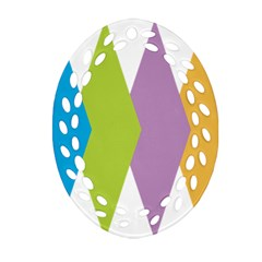 Chevron Wave Triangle Plaid Blue Green Purple Orange Rainbow Oval Filigree Ornament (two Sides)