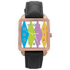Chevron Wave Triangle Plaid Blue Green Purple Orange Rainbow Rose Gold Leather Watch  by Alisyart