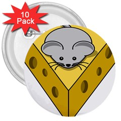 Cheese Mose Yellow Grey 3  Buttons (10 Pack)  by Alisyart