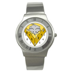 Cheese Mose Yellow Grey Stainless Steel Watch by Alisyart