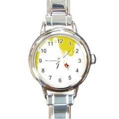 Fish Underwater Yellow White Round Italian Charm Watch by Simbadda