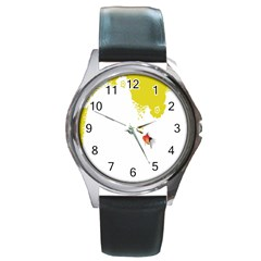 Fish Underwater Yellow White Round Metal Watch by Simbadda