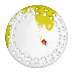 Fish Underwater Yellow White Ornament (round Filigree) by Simbadda