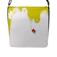 Fish Underwater Yellow White Flap Messenger Bag (l)  by Simbadda