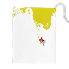 Fish Underwater Yellow White Drawstring Pouches (xxl)