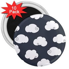 Cloud White Gray Sky 3  Magnets (10 Pack)  by Alisyart