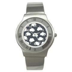 Cloud White Gray Sky Stainless Steel Watch by Alisyart