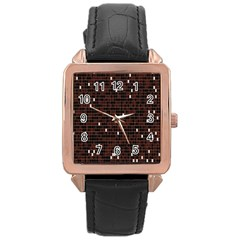 Cubes Small Background Rose Gold Leather Watch  by Simbadda