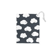 Cloud White Gray Sky Drawstring Pouches (xs)
