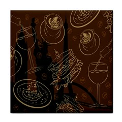 Coffe Break Cake Brown Sweet Original Tile Coasters