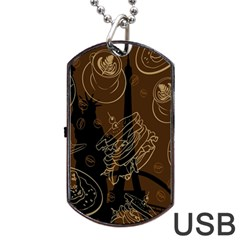 Coffe Break Cake Brown Sweet Original Dog Tag Usb Flash (one Side)