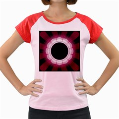 Circle Border Hole Black Red White Space Women s Cap Sleeve T Shirt
