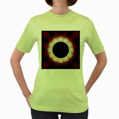 Circle Border Hole Black Red White Space Women s Green T Shirt by Alisyart