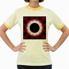 Circle Border Hole Black Red White Space Women s Fitted Ringer T Shirts by Alisyart