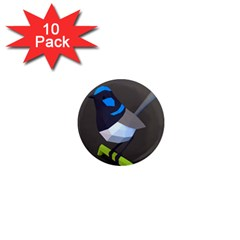 Animals Bird Green Ngray Black White Blue 1  Mini Magnet (10 Pack)  by Alisyart