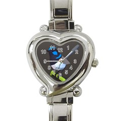 Animals Bird Green Ngray Black White Blue Heart Italian Charm Watch by Alisyart
