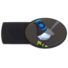 Animals Bird Green Ngray Black White Blue Usb Flash Drive Oval (4 Gb) by Alisyart