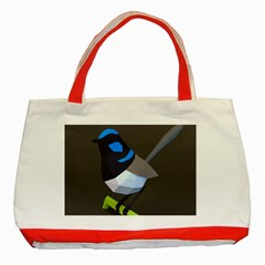 Animals Bird Green Ngray Black White Blue Classic Tote Bag (red) by Alisyart