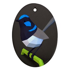 Animals Bird Green Ngray Black White Blue Oval Ornament (two Sides)