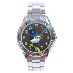 Animals Bird Green Ngray Black White Blue Stainless Steel Analogue Watch