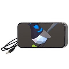 Animals Bird Green Ngray Black White Blue Portable Speaker (black) by Alisyart