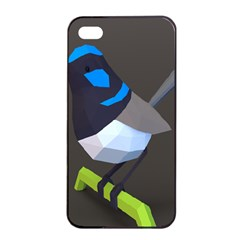 Animals Bird Green Ngray Black White Blue Apple Iphone 4/4s Seamless Case (black) by Alisyart
