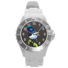 Animals Bird Green Ngray Black White Blue Round Plastic Sport Watch (l) by Alisyart