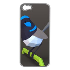 Animals Bird Green Ngray Black White Blue Apple Iphone 5 Case (silver) by Alisyart